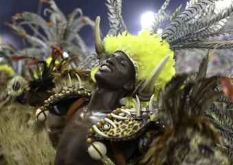 Revellers of the Salgueiro samba school participate in the annual Carnival parade in Rio de Janeiro's Sambadrome