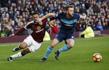 Middlesbrough's Calum Chambers in action with Burnley's Andre Gray