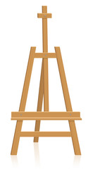 Tripod easel - painting or presentation equipment - isolated vector illustration on white background.