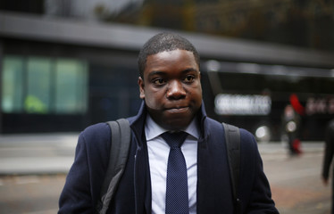 Former UBS trader Kweko Adoboli arrives at Southwark Crown Court to attend his trial for fraud and false accounting in London