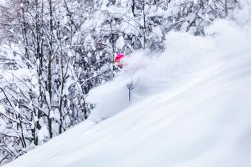 Fototapete - Good skiing in the snowy mountains, Carpathians, Ukraine. Good winter day, ski season. Powder day.