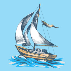 Sailing boat with a flag