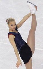 Kiira Korpi of Finland performs during ladies free program at the European Figure Skating Championships in Tallinn