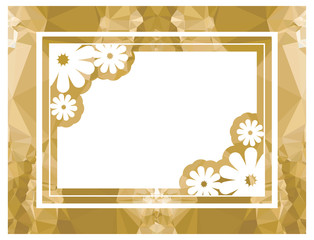Color mosaic frame with decorative flower. Vector clip art.