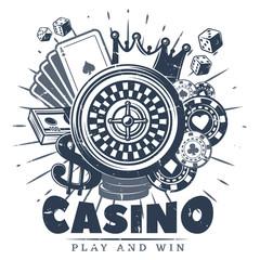 Fototapeta Vintage Monochrome Casino Logo Template