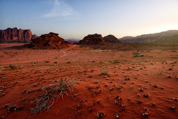 Scenic View Of Wadi Rum Against Clear Sky During Sunrise, Arabian Desert, Jordan