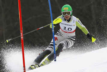 Duerr of Germany competes during the women's slalom race at the Alpine Skiing World Championships in Garmisch-Partenkirchen