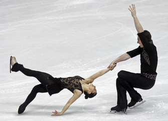 Popova and Massot of France perform during the pairs short program at the European Figure Skating Championships in Zagreb