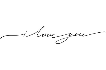I love you. Handwritten black text isolated on white background, vector.