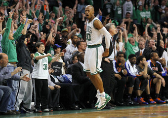 Boston Celtics Allen reacts after hitting the game-winning shot against the New York Knicks in Boston