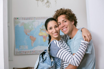 couple embracing in holiday home ready to go