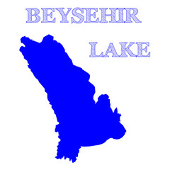 Isolated blue map of Beysehir Lake, the third largest lake of Turkey, located in southwestern Turkey - Eps10 vector graphics and illustration