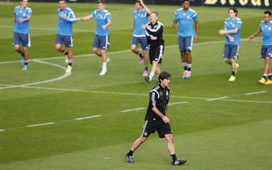 German national soccer coach Loew conducts a team training session in Essen