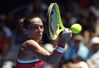Italy's Vinci hits a shot during her second round match against Falconi of the U.S. at the Australian Open tennis tournament at Melbourne Park