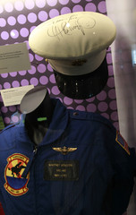 """A jumpsuit and sailor hat worn by late singer Whitney Houston during a 1991 special performance welcoming home veterans of the 1991 Gulf War are pictured during a press preview of the new exhibit """"Whitney! Celebrating The Musical Legacy of Whitney Houston,"""