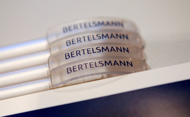 Pencils with the logo of German media group Bertelsmann CEO are seen at the annual news conference Berlin