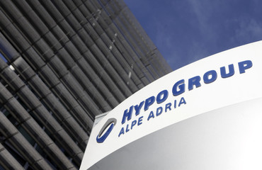 A logo of the Hypo Group Alpe Adria Bank is pictured at their headquarters in Klagenfurt