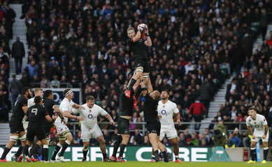 New Zealand's Read wins the line up against England during their international rugby union match at Twickenham in London