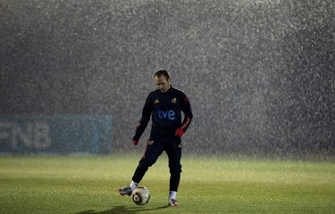 Spain's midfielder Andres Iniesta attends a soccer training session in Potchefstroom