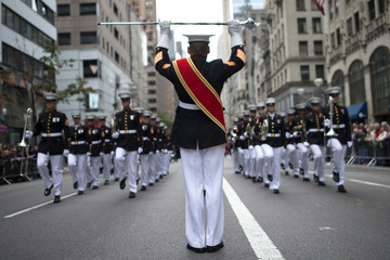 Members of Marine aircraft wing band participate during the annual Columbus Day Parade along Fifth Avenue in New York