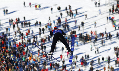 Austria's Diethart soars over the spectators during the practice for the second jumping of the four-hills tournament in Garmisch-Partenkirchen