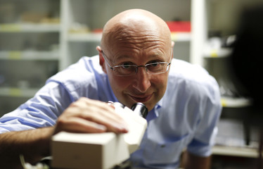 Chemistry Nobel prize winner Hell poses with a nanoscale microscope in Goettingen