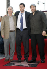 Winkler, Sandler, and James pose for photos as Sandler is honored with a star on the Hollywood Walk of Fame in Hollywood
