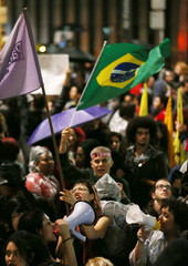 Demonstrators attend a protest against Brazil's President Michel Temer in Sao Paulo