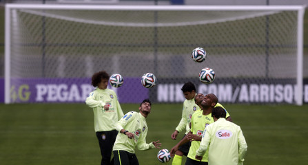 Brazil's national soccer team players attend a training session in Teresopolis near Rio de Janeiro