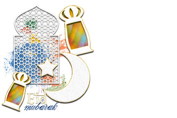 Ramadan Kareem Eid Mubarak muslim islamic holiday background with eid lanterns or lamps