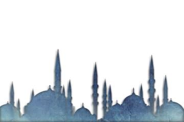 Mosque silhouettes islamic muslim holiday ramadan or eid background