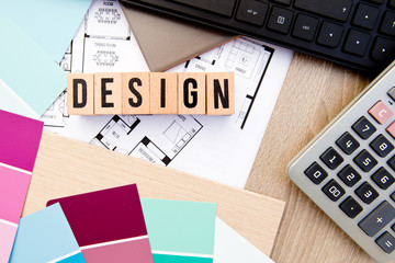 Design in block letters with house drawings, keyboard, samples and calculator