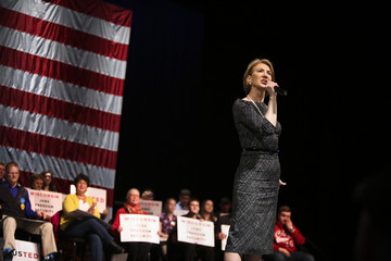 Former Republican Presidential candidate Carly Fiorina speaks at a campaign rally of U.S. Republican presidential candidate Ted Cruz, at the Sharon Lynne Wilson Center for the Arts in Brookfield, Wisconsin