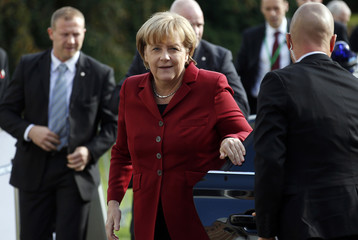 German Chancellor Merkel arrives at an EPP meeting in Meise near Brussels, ahead of an EU leaders summit