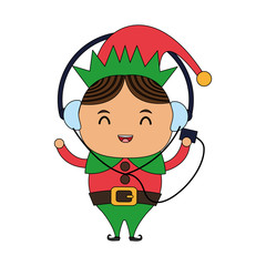 color image cartoon full body christmas elf with with earphones listening music vector illustration
