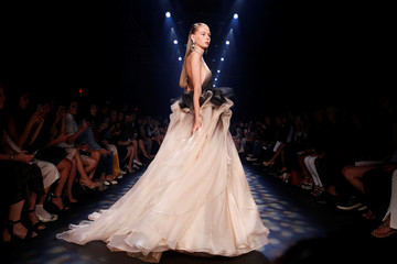 A model presents creations from the Marchesa Spring/Summer 2017 collection during New York Fashion Week in the Manhattan borough of New York