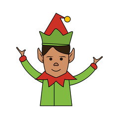 color image cartoon half body christmas elf with hands open vector illustration
