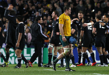 Australia Wallabies captain Horwill reacts after losing their Rugby World Cup semi-final match against New Zealand All Blacks at Eden Park in Auckland