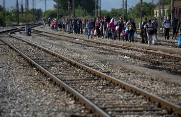 Migrants arrive at Gevgelija train station in Macedonia