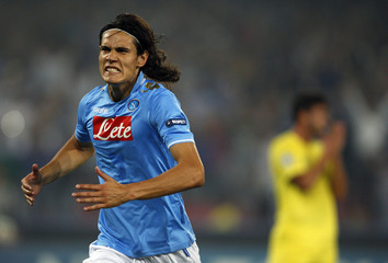Napoli's Cavani celebrates after scoring against Villarreal during their Champions League Group A soccer match in Naples