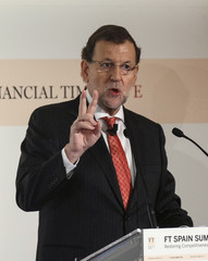 Spain's Prime Minister Mariano Rajoy delivers a speech during an event at a hotel in Madrid