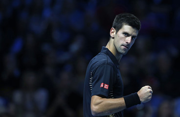 Serbia's Djokovic celebrates after breaking Argentina's Del Potro's serve in the third set of their men's singles semifinal tennis match at the ATP World Tour Finals at the O2 Arena in London