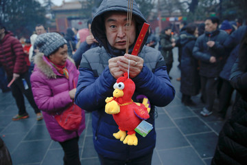 A man hold a rooster toy as people burn incense sticks and pray for good fortune at Yonghegong Lama Temple on the first day of the Lunar New Year of the Rooster in Beijing