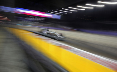 Mercedes Formula One driver Hamilton of Britain drives during the Singapore F1 Grand Prix at the Marina Bay street circuit in Singapore