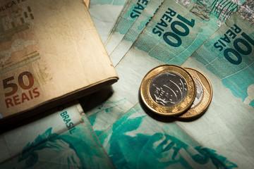 Top view of Reais, Brazilian money