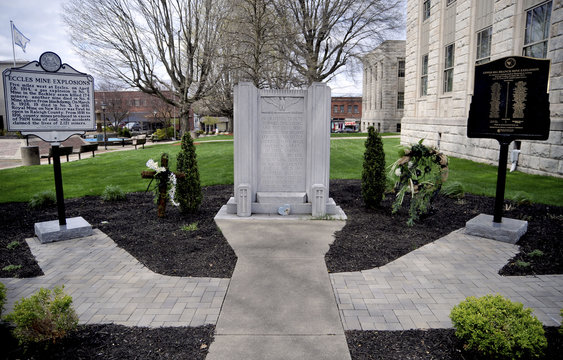 A memorial to honor the 29 West Virginian Coal Miners that lost their lives in the Upper Big Branch mining disaster on April 5, 2010 is seen on the main street in the town of Beckley
