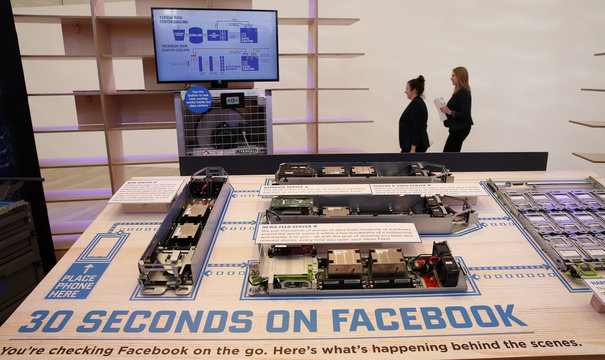 An explanatory model of a datacenter operating for Facebook is pictured at new Facebook Innovation Hub during a media tour in Berlin