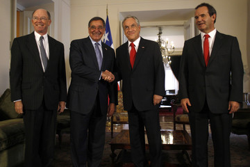 Chile's President Pinera, U.S. Defense Secretary Panetta, Chilean Defense Minister Allamand and U.S. Ambassador to Chile Wolff meet at the government palace at Santiago