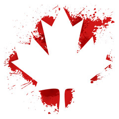 Canada maple leaf with blood splash