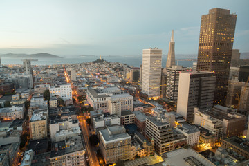 Aerial View of San Francisco Financial District and San Francisco Bay as seen from Nob Hill Neighborhood.